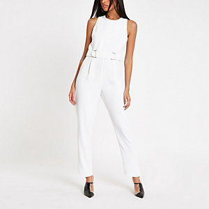 White sleeveless ring waist jumpsuit