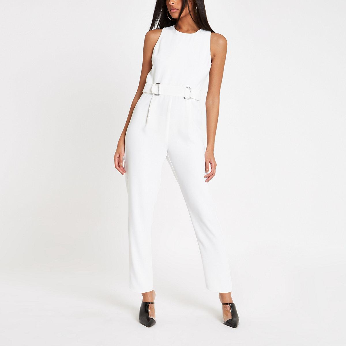 White sleeveless ring waist jumpsuit