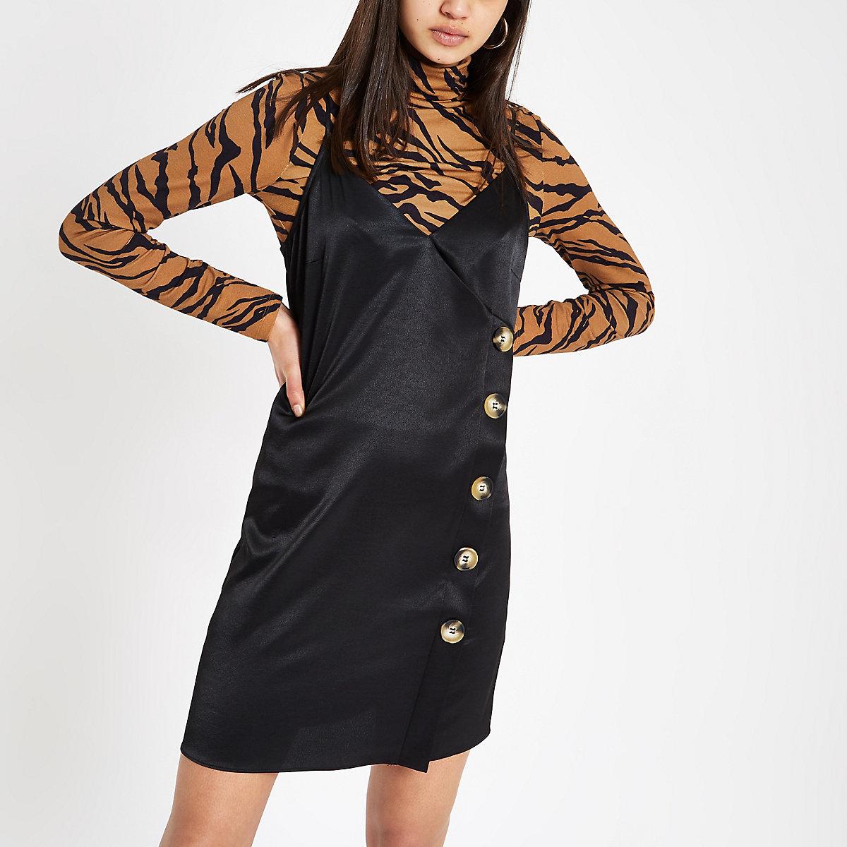 Black button side slip dress
