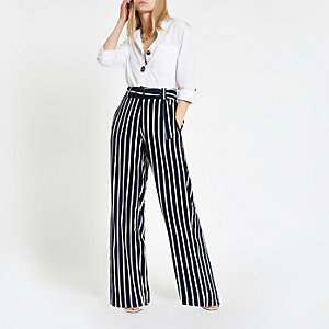 Navy contrast stripe wide leg trousers