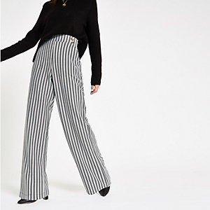 Black stripe double button wide leg trousers