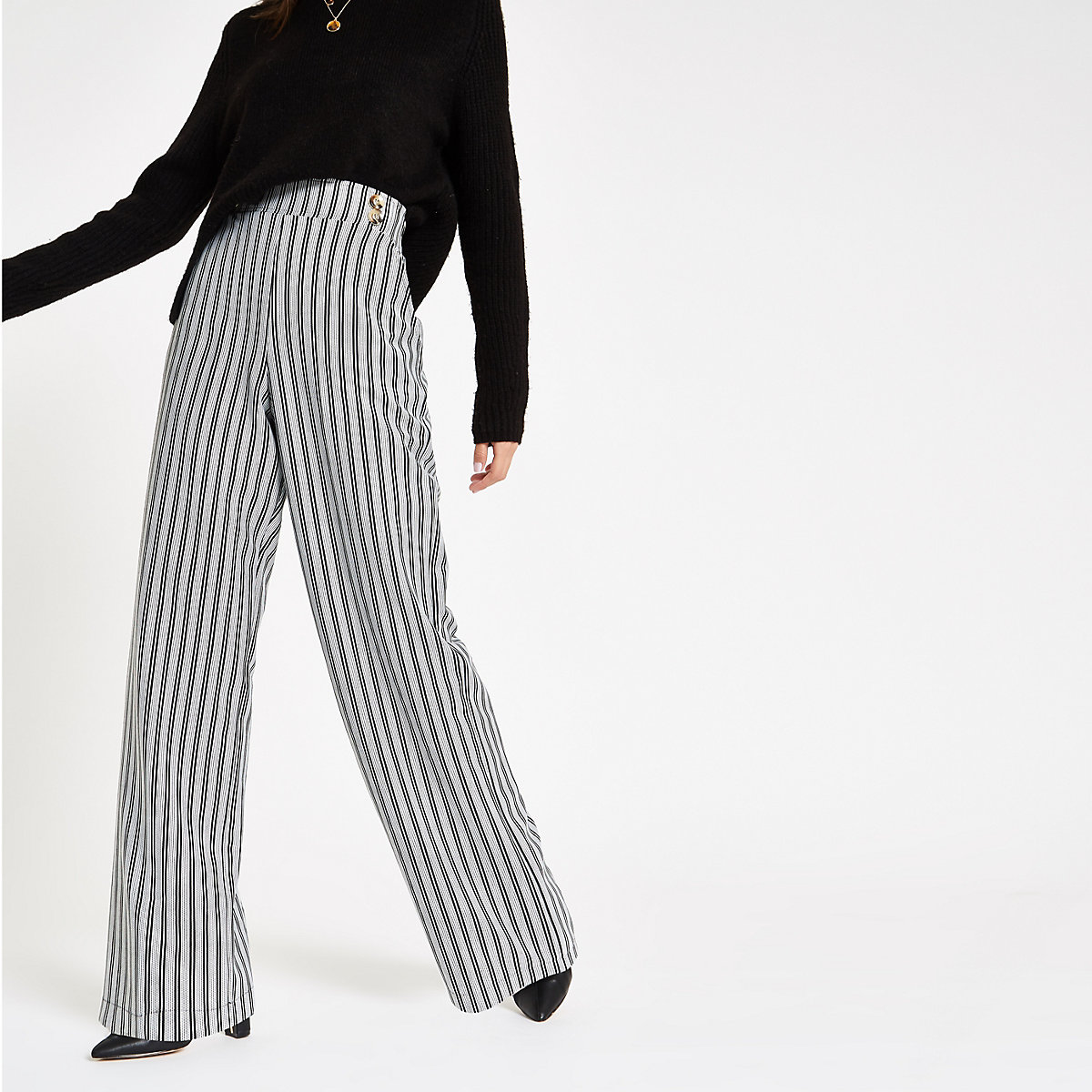 Black stripe double button wide leg pants