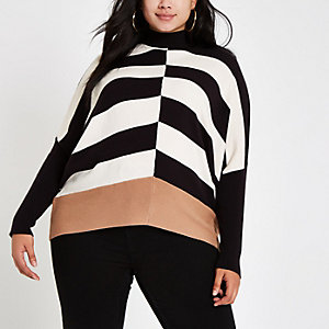 Plus – Pull noir et blanc à manches chauve-souris
