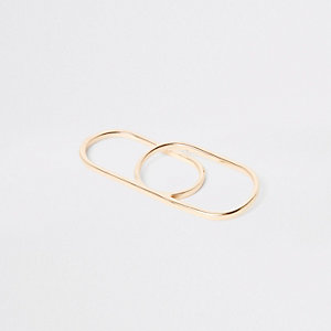 Gold color double finger ring