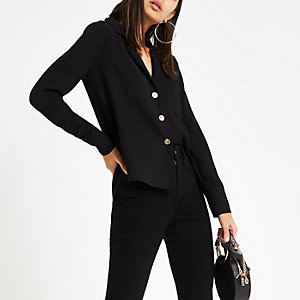 Black gold tone button shirt