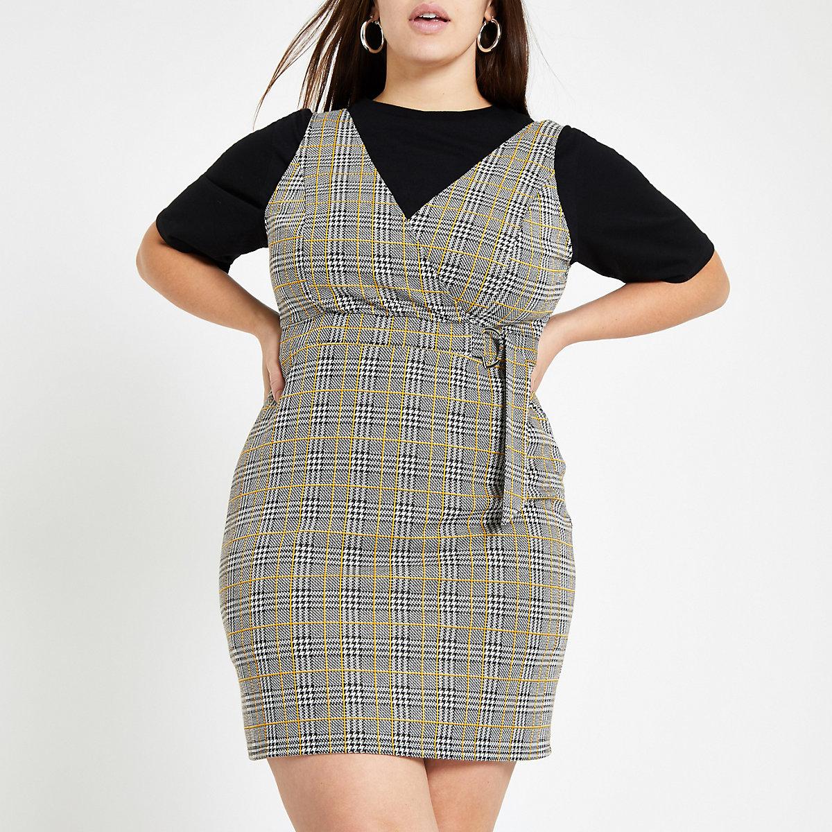 Plus grey check wrap pinafore mini dress