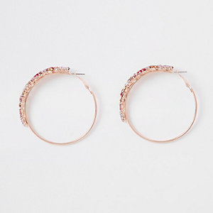 Rose gold color jewelled hoop earrings