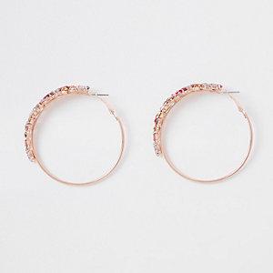 Rose gold color jewelled hoop earrings