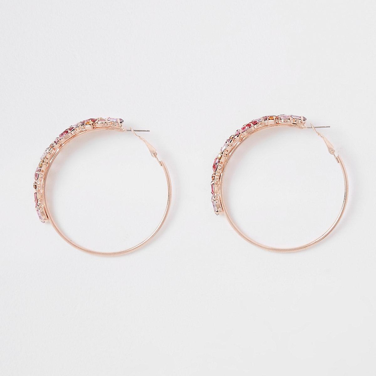 Rose gold colour jewelled hoop earrings