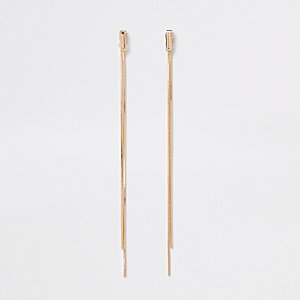 Gold color sleek front and back earrings