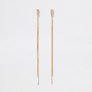 Goudkleurige elegante dubbele oorbellen