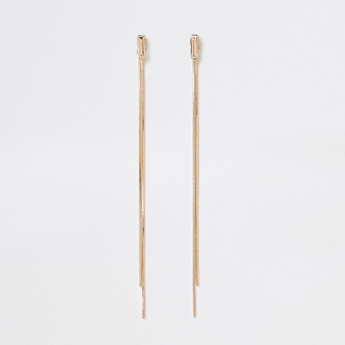 Gold colour sleek front and back earrings