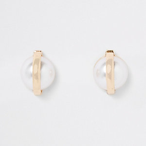 Gold color pearl capped stud earrings