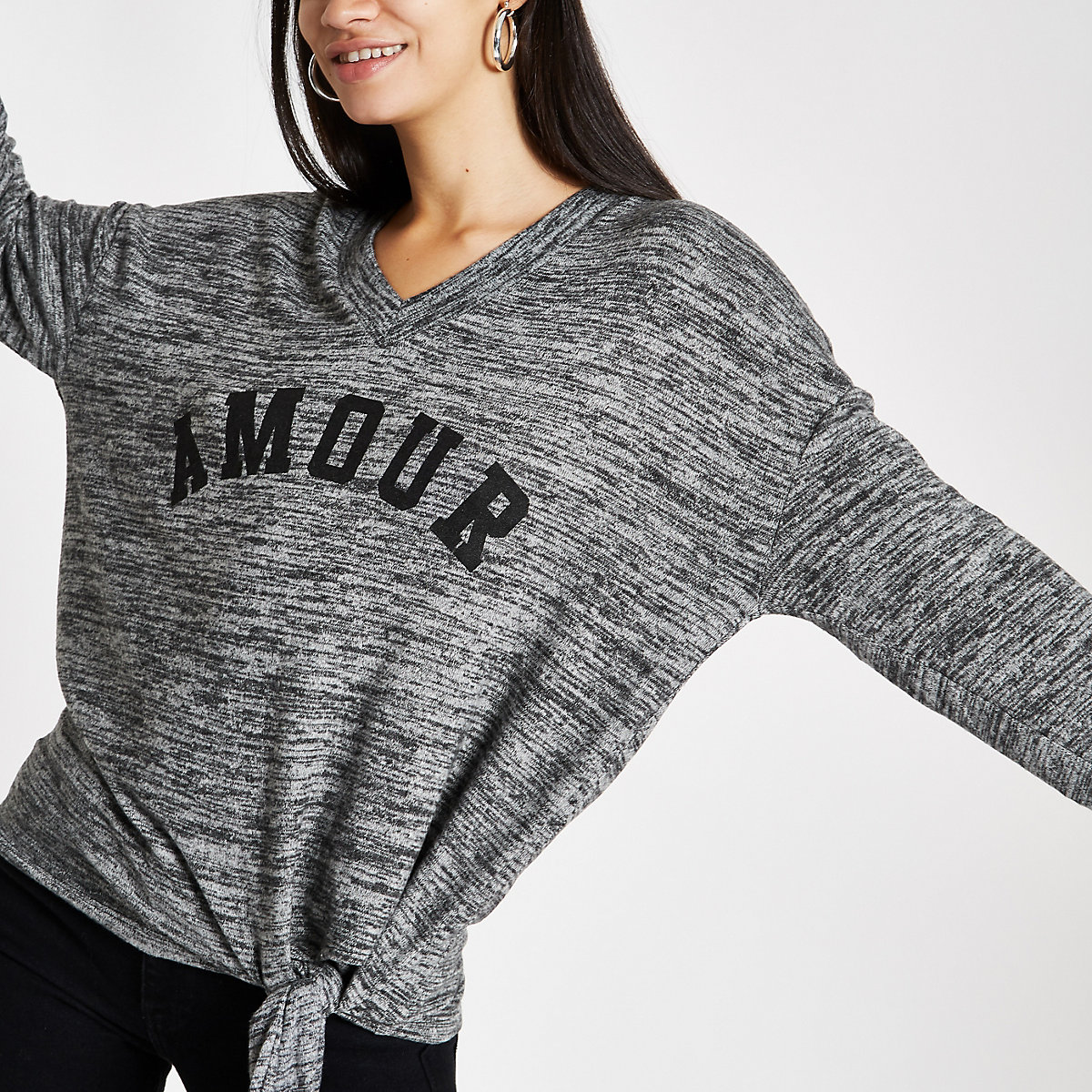 Grey hacci 'Amour' tie side long sleeve top