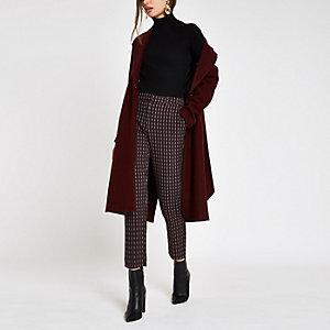 Bordeauxrode geruite broek met rechte pijpen