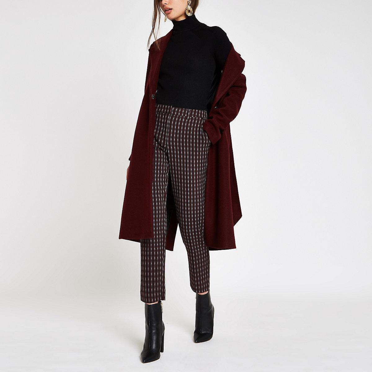 Burgundy check straight leg pants