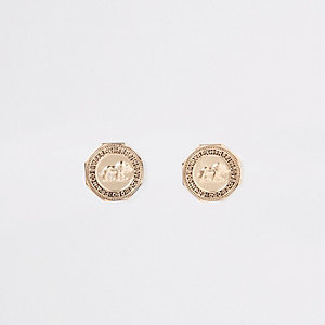 Gold colour coin stud earrings