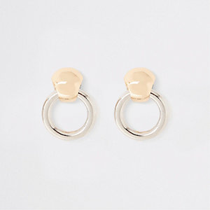 Gold and silver tone circle stud earrings