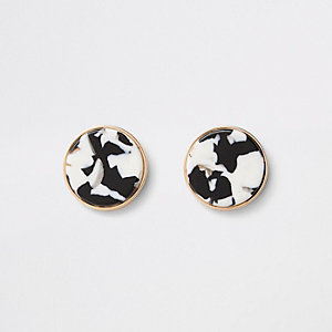 Gold and silver colour circle stud earrings