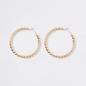 Gold tone bobble rope hoop earrings