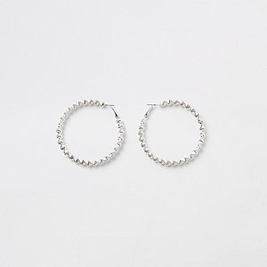 Silver tone bobble rope hoop earrings