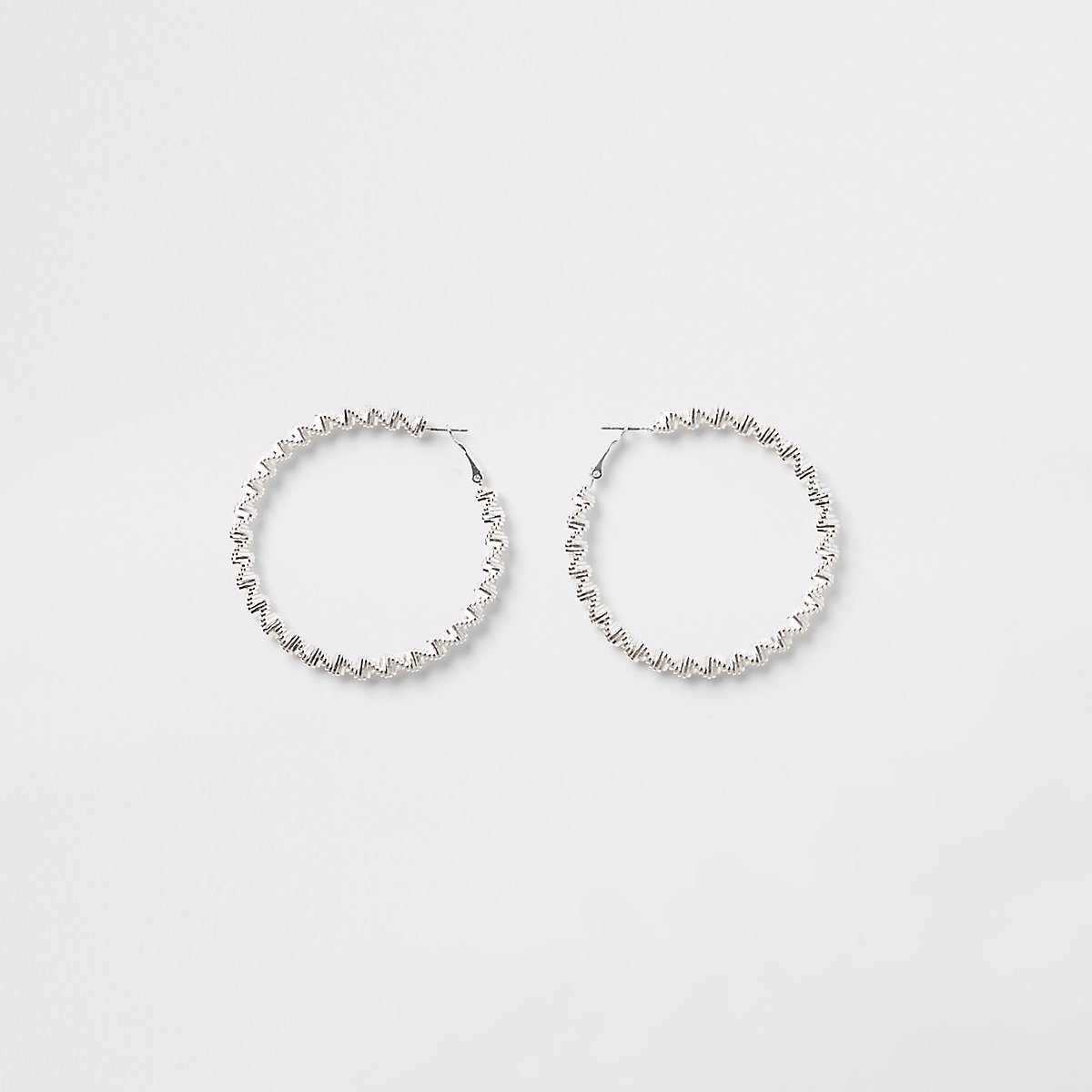 Silver color bobble rope hoop earrings