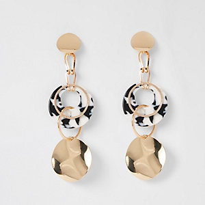 Gold colour disc ring drop earrings