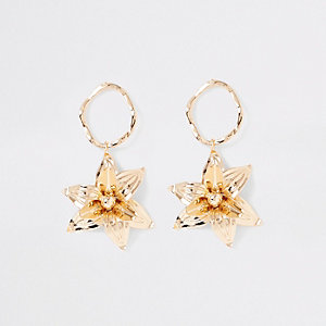 Gold colour flower drop earrings