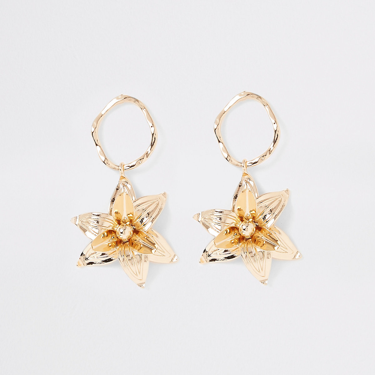 Gold color flower drop earrings