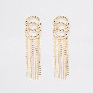 Gold color twist tassel drop earrings