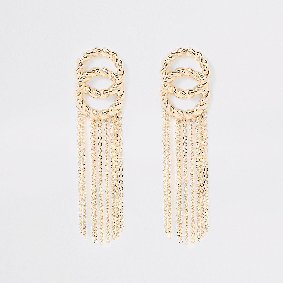 Gold colour twist tassel drop earrings