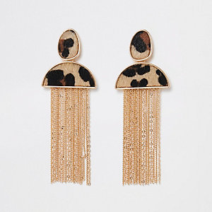 Gold tone brown leopard tassel earrings
