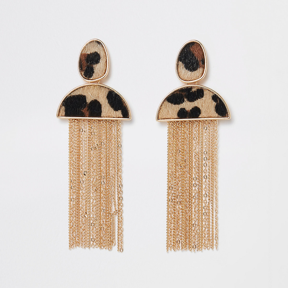 Gold tone brown leopard tassel earrings