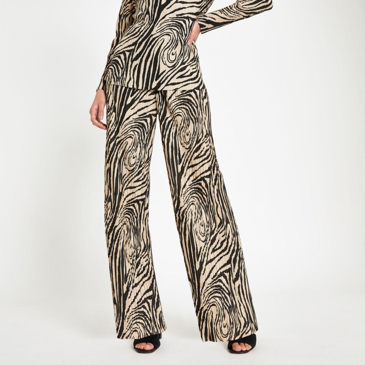 Cream plisse zebra print wide leg trousers