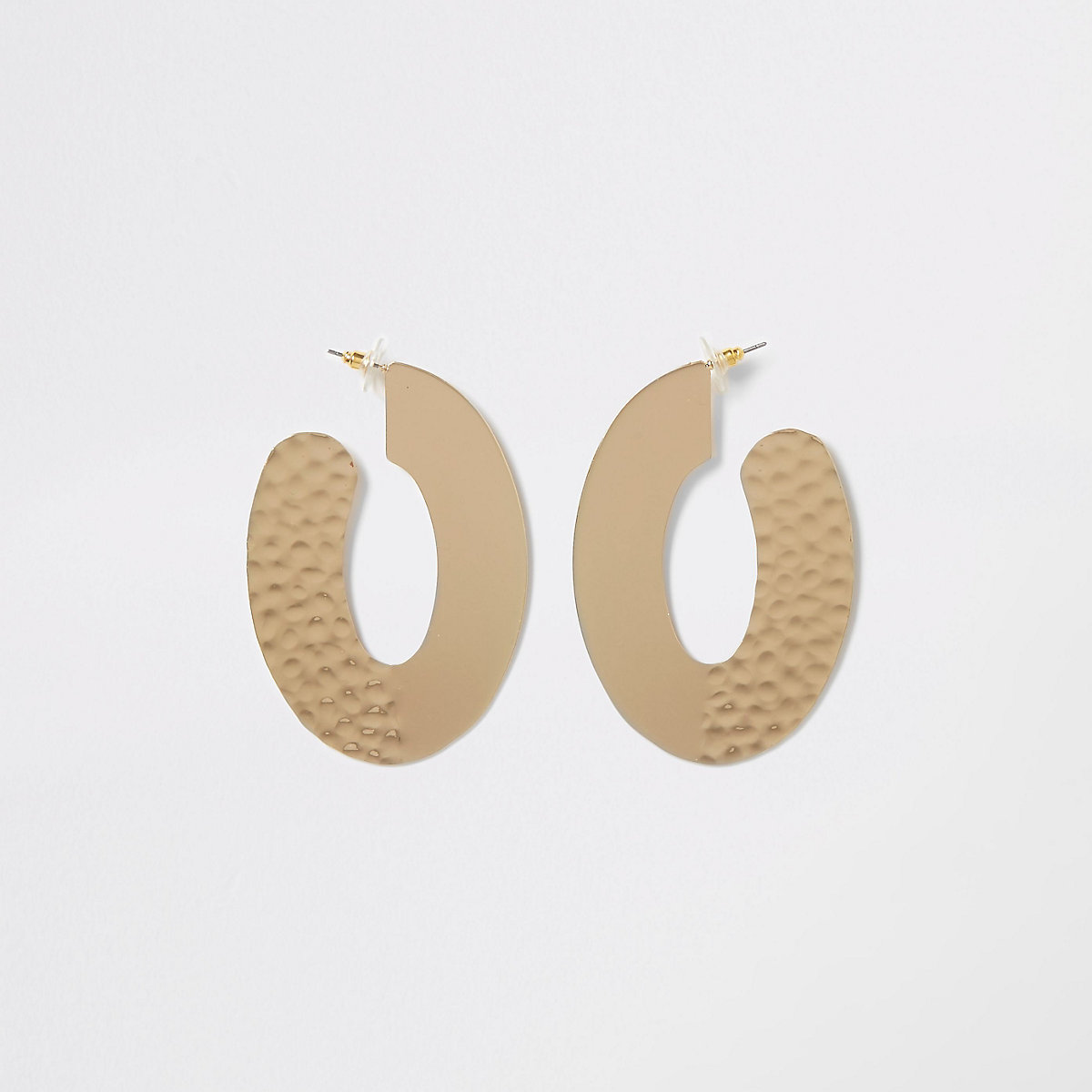 Gold color hammered large oval hoop earrings