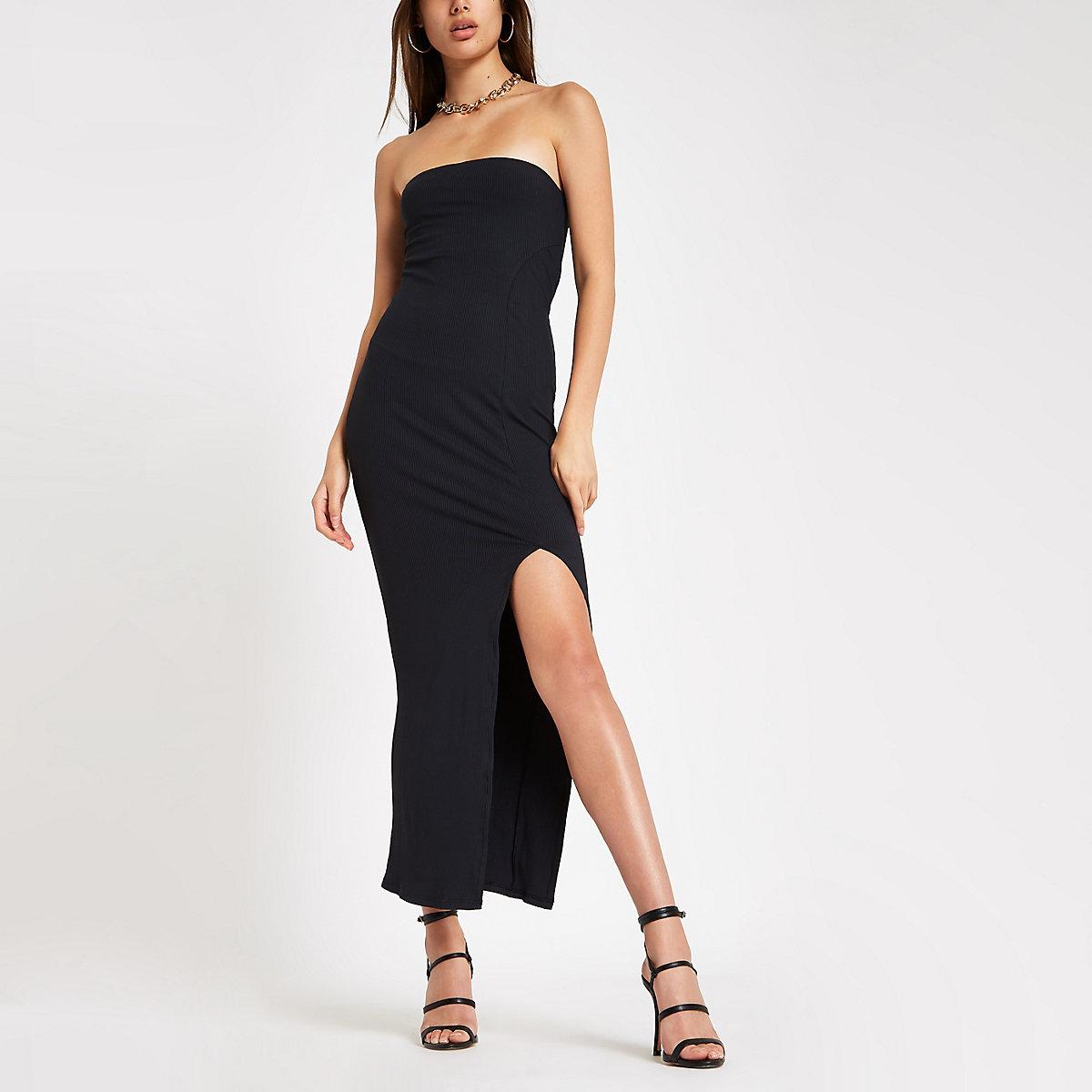 Black ribbed split front bandeau maxi dress