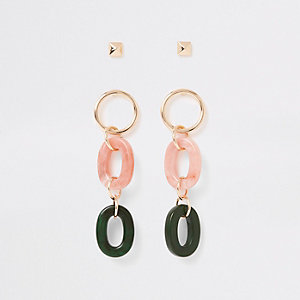 Light pink interlinked drop earrings pack