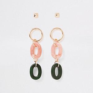 Lot de pendants d'oreilles entrelacés rose clair