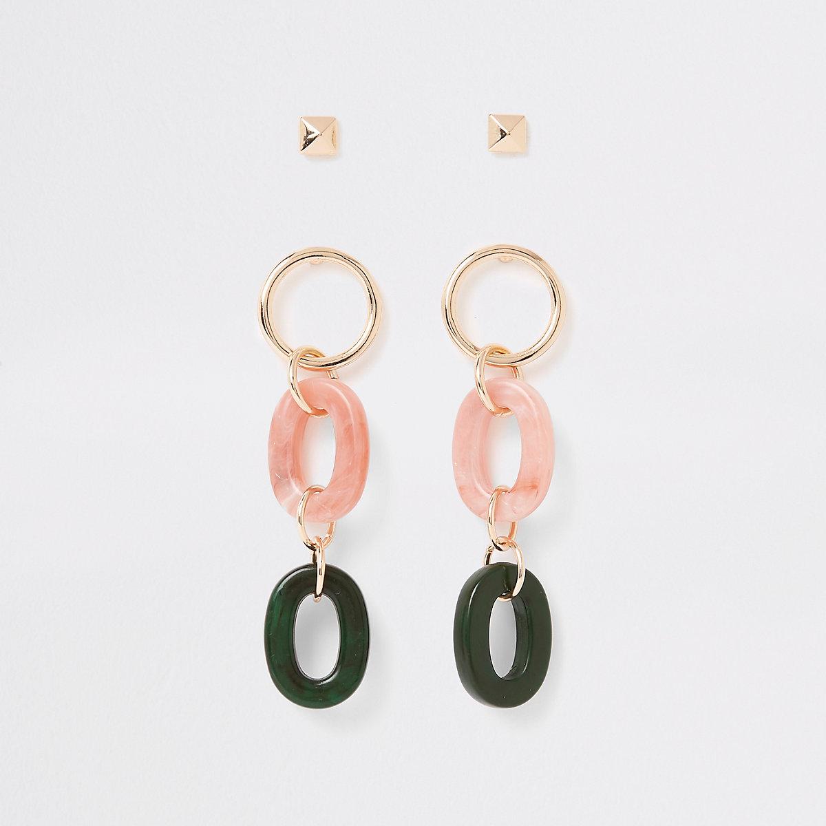 Light pink interlinked drop earrings pack