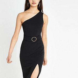 Black one shoulder rib bodycon dress