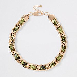 Gros collier motif serpent vert fluo