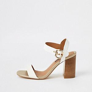 Witte tweedelige sandalen met blokhak