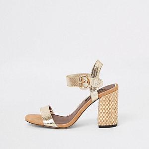 Sandales dorées en deux parties à talon carré