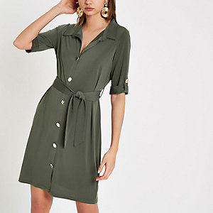 Khaki long sleeve jersey shirt dress