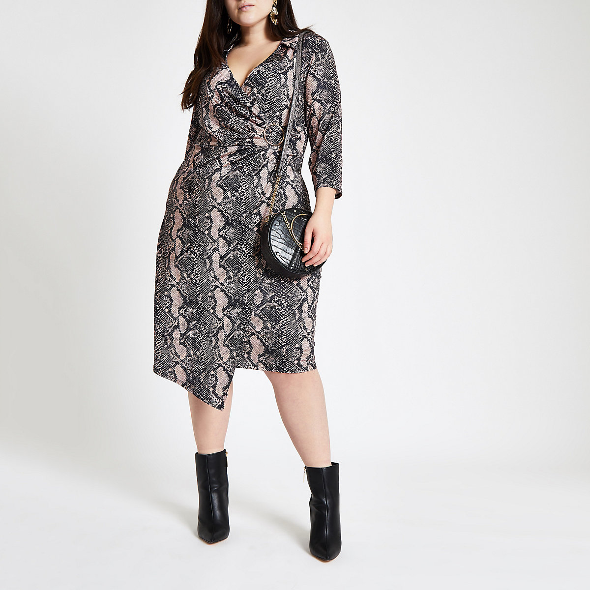 Plus pink snake print wrap midi dress