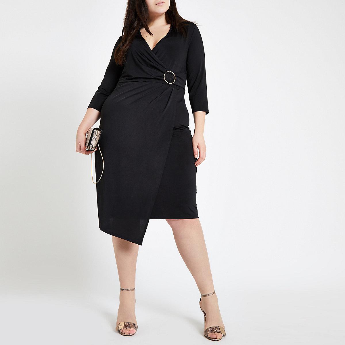 Plus black wrap midi dress