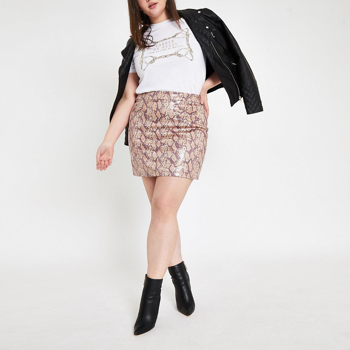 8c13fdd4372 Plus pink faux leather snake print mini skir - Mini Skirts - Skirts - women