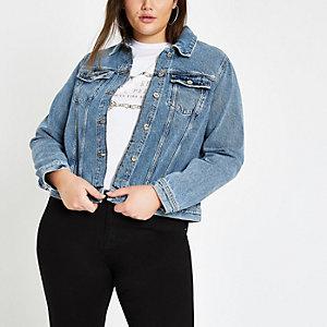 Plus – Mittelblaue Jeansjacke