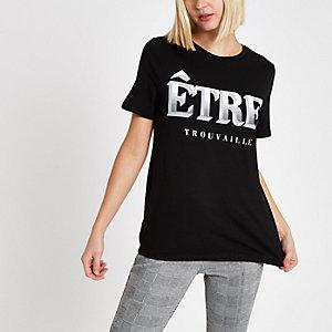 Black 'etre' front print T-shirt