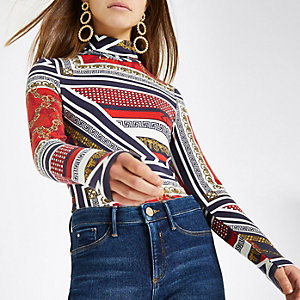 Petite red scarf print roll neck top